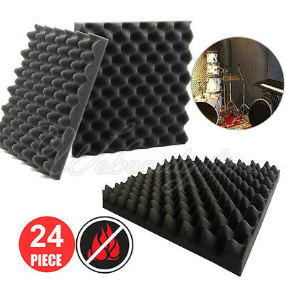 24Pack Acoustic Foam Egg Panels Tiles Studio Sound Proofing Treatment Absorption