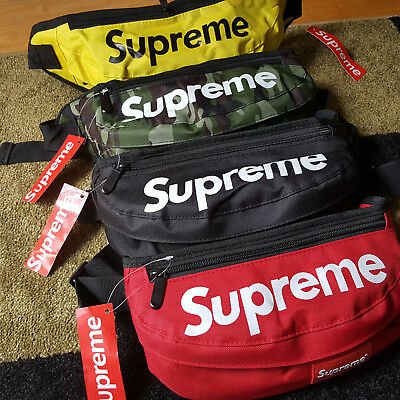 100% Original SUPREME SHOULDER BAG WAIST POCKET Red Black Military Camo Yellow