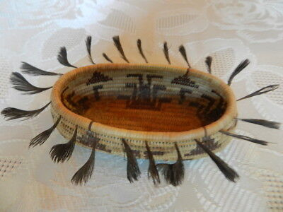 Old Northern California Native American Pomo Basket, Quail Feather, No Reserve