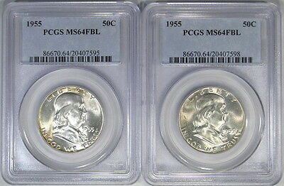 Two 1955 Pcgs Ms64Fbl Franklin Halves ~ Beautiful Bright Coins!
