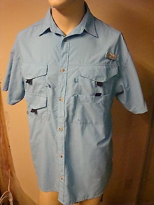 columbia deluxe pfg short sleeve button up light blue size large