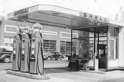 LOT-2 Vintage Real Photos Of Shell Gas Station-Next To Lincoln Building