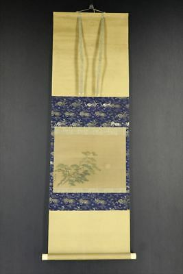 """JAPANESE HANGING SCROLL ART Painting """"Pinetree and Moon"""" Asian antique  #E7502"""