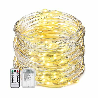 Oak Leaf Dimmable String Lights19.7ft 60 LED 8 Modes Flexible Silver Wire... New