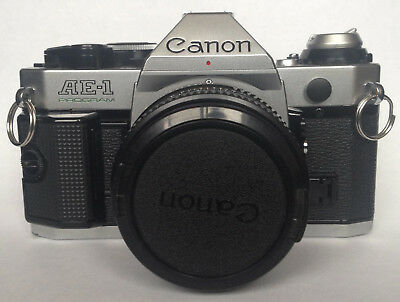 Canon AE-1 Program 35mm SLR Camera w/50mm Lens Case Flash Instructions More VTG