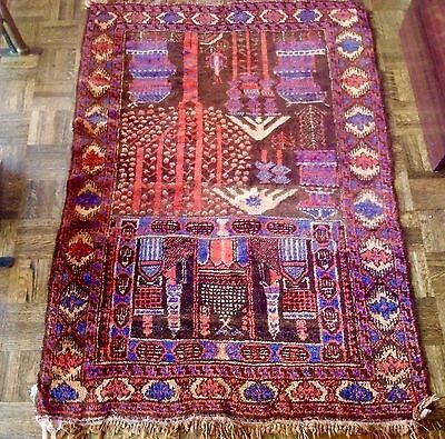 Antique 1950's Pakistani Hand Woven Wool Rug by (Tariq and Sultan)