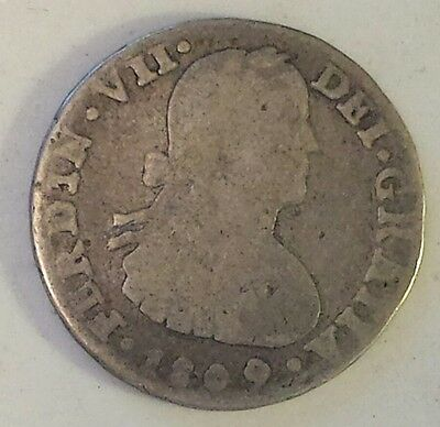 "Rare ""1809 Mexico 1 Real"" Silver (.903)  Coin F Cond.- Not Prof. Graded"