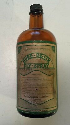 """Rare (St. Catherines) """"sure-Death Fly-Spray""""16 Oz Amber Bottle-Cap & Paper Label"""