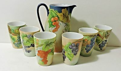 Hand Painted Grapes Porcelain Pitcher & Tumblers-Bareuther Bav Germany-Signed