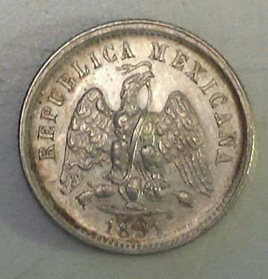 """1891 Mexico 10 Centavos""  Silver (.903) Coin - Vf-Xf  Condition-Not Prof Graded"