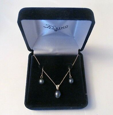 """KARING Designs 14K Gold 18"""" Chain Black Pearl And Diamond Pendant And Earrings."""