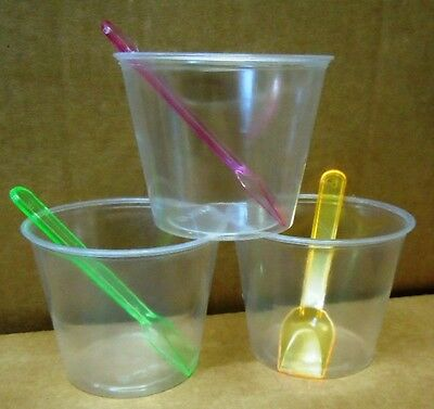 50 x Dessert cup with lid and Neon spoon,150ML Volume, Clear PET Lid and cup