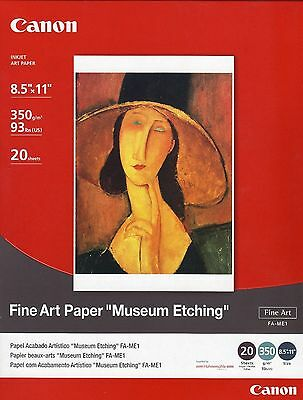 """Canon Fine Art Paper Museum Etching 8.5"""" x 11"""" (20 Sheets) 1262B017[AA] Sealed"""
