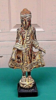 """ANTIQUE 18c BURMESE POLICHROME WOOD CARVED STANDING  BUDDHA STATUE 17""""H"""