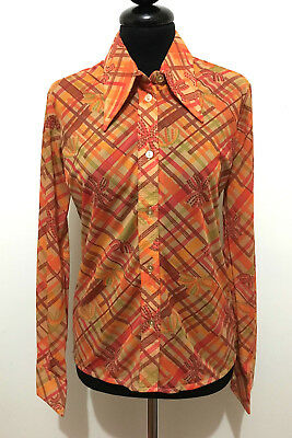 CULT VINTAGE '70 Camicia Donna Blusa Optical Jersey Woman Shirt Sz.S - 42