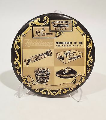 """OLD  Advertising Mirror 3 1/4"""" Heidelberger Philymade Sweets ~ Since 1921 Philly"""