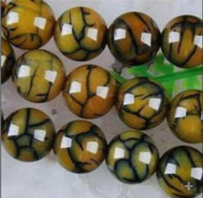 6mm Yellow Dragon Veins Agate Round Loose Beads Gems 14 ""