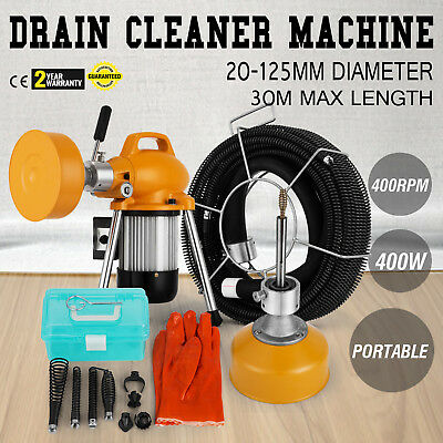 """3/4"""" - 5"""" Ø Pipe Drain Cleaner Machine Cleaning Snake Flexible 400W"""