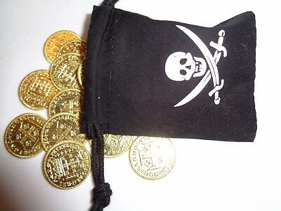 30 Gold Metal Famous Pirate Coins in a Cloth Bag