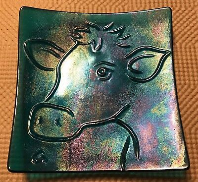 """5.75"""" Slumped Glass Cow - Iridescent Turquoise - 100% Donation to SW VegFest"""