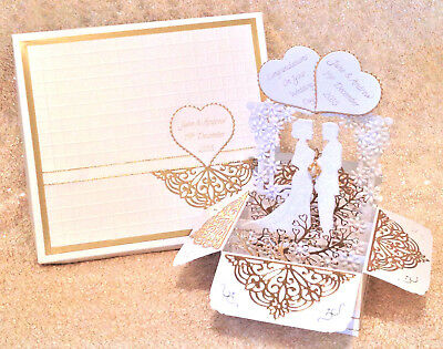 Handmade Weddng Card Bride & Groom Boxed card Personalised White & Gold 3D