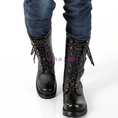 Mens Military Buckles leather Gothic Lace-up Black Combat motor Riding Boots