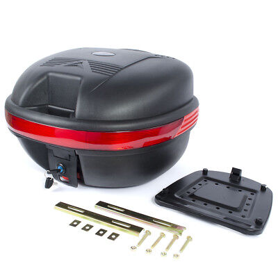 35L Motorcycle Back Rear Storage Box Luggage Case Top Box Detachable W Fittings