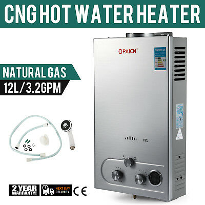 12L CNG Hot Water Heater 24kw Natural Gas Instant Boiler Shower Head 3.2GPM