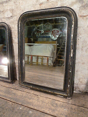 Antique French Ebonised c1900 Gesso and Gilt Wooden Framed Mirror
