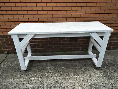 Used Timber Work Bench on Wheels