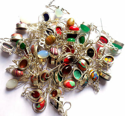 50 Pairs Gemstone Wholesale Lot 925 Sterling Silver Assorted Fashion Earrings