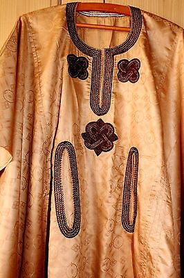 New Unique West African embroidered Danshiki Brocade~Unisex~Beige~ Fast P&P!