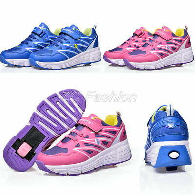 Unisex Kids Boys Girls Skate Heelys Single Wheel Roller Shoes Fashion Sneakers