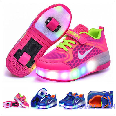 New Double Wheels LED Light Roller Skate Girls Shoes Youth Sneaker Kids Gift