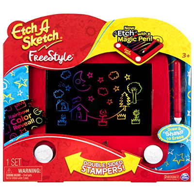 Etch Sketch Freestyle Toy Art Ohio Drawing New Stampers Pad Joystick Stylus Kids