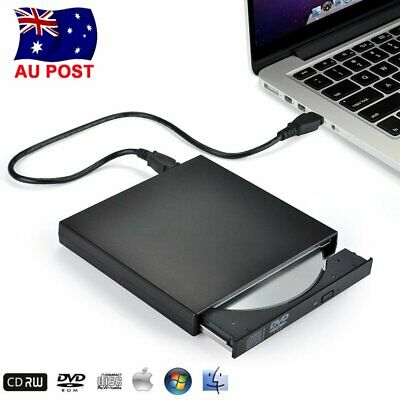 USB External CD Writer Burner RW ROM Drive DVD Player For Notebook Mac Laptop