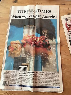 The Times from Wednesday September 12th 2001 (9-11) Twin Towers