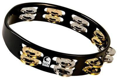 "Toca Colorsound Acacia Hardwood 10"" Tambourine in Black with Brass & Nickel Jing"
