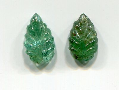 2 Matching Carved Leaf shaped Emeralds for Earrings A1 Emerald Gemstone 11x6