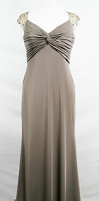 25154 John Charles Taupe Long Evening Dress Ball Gown Rrp £425 Stock Clearance