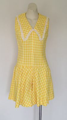 Womens 1960s Yellow Check Playsuit Romper