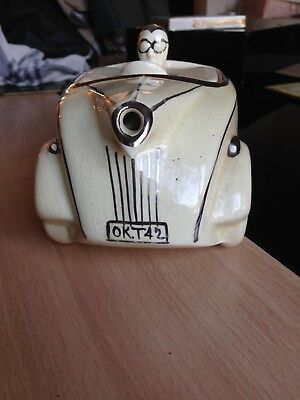 Vintage Sadler racing car & driver teapot OKT42 cream &chrome
