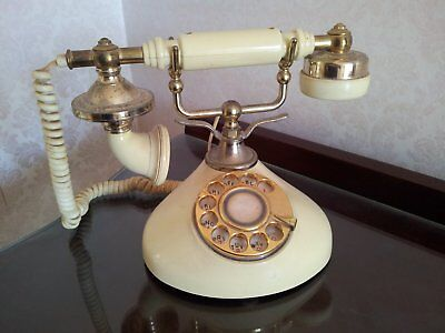 Decorative & Functional Antique Style Corded Dial Telephone & Splitter Adaptor
