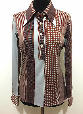 CULT VINTAGE '70 Camicia Maglia Polo Donna Optical Jersey Woman Shirt Sz.S - 40