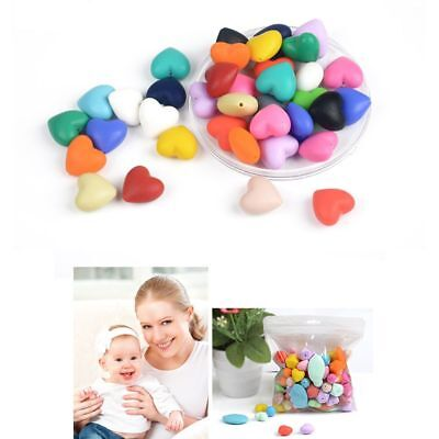 10pcs Safety BPA-Free Silicone Baby Teether Necklace Bracelet Heart Beads DIY