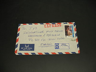 Gambia 1999? Banjul registered expres airmail cover to Finland *5732