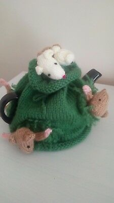 Hand Knitted Mice Tea Cosy