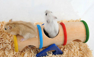 Colorful Wood Hamster Seesaw Tube Tunnel Cage House Small Pet Toy Hide play