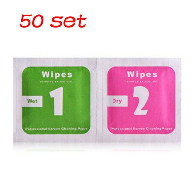 50 Set Phone LCD Screen Dust Removal Tool Dry Wet Cleaning Wipes Paper Unique LS