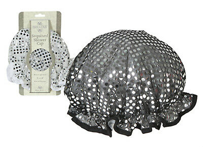 1 X SEQUINNED SHOWER CAP/ BATH HAT - WHITE or BLACK WITH SEQUINS -BATHTIME BLING